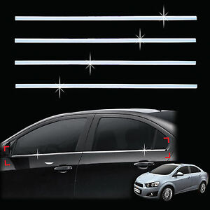 Chrome Door window Sill Belt Molding Trim Cover For 11 Chevrolet Aveo sonic 4dr