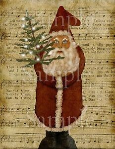 Primitive Christmas Santa Claus Belsnickle St Nick Feather Tree Print 8x10