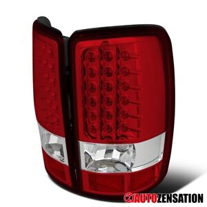 For 2000 2006 Chevy Suburban Tahoe Gmc Yukon Denali Xl Red Clear Led Tail Lights