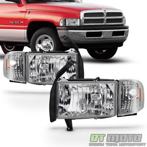 1994 2001 Dodge Ram 1500 2500 3500 Headlight W Corner Lights Signal Lamps 94 01