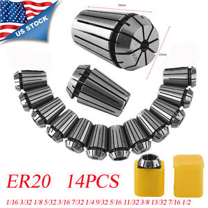 New Er20 14 Pcs Spring Collet Set 1 16 1 2 Cnc Super Precision 1 8 1 4 3 8 Se