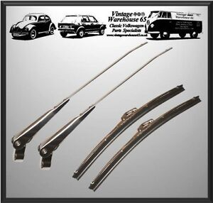 Vintage Classic Car 11 Stainless Steel Wiper Blades Wiper Arm Set