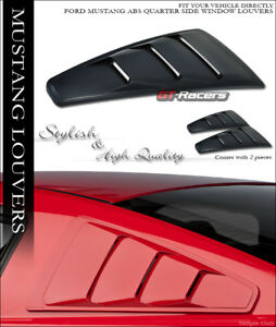 2005 2014 Ford Mustang Blk Gt 3 Vent Style Rear 1 4 Side Window Louvers Scoop V2