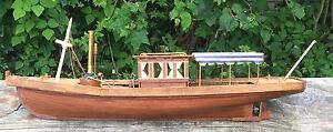 Nice Model Of A Vintage Pleasure Boat Or Yacht Wood Good Condition 19 Inches