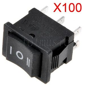 100 Pcs Ac 6a 250v 10a 125v On off on 3 position Dpdt 6 pins Boat Rocker Switch