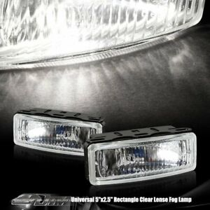Universal 5 x2 125 Rectangle Euro Chrome Housing Clear Lens H3 Fog Light Lamps