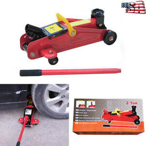 Portable Red 2 Ton 4000 Lbs Hydraulic Floor Jack Lift Tool On Whe