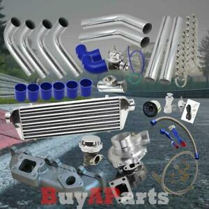 Turbo Turbocharger Manifold Chrome Blue Kit For 03 05 Dodge Neon Srt 4 2 4l