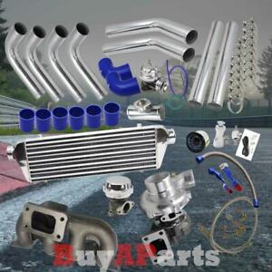 Turbo Turbocharger Cast Manifold Chrome Blue Kit For 2001 2005 Honda Civic 1 7l