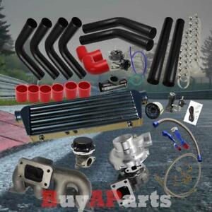 Diy Black Intercooler Piping Red Couplers Turbo Kit For 01 05 Civic Sohc D17