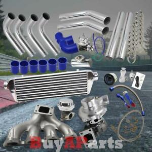 Chrome Intercooler Piping Blue Couplers Turbo Kit For 88 00 Honda Civic D Series