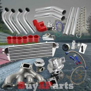 Diy Chrome Intercooler Piping Red Couplers Turbo Kit For 88 00 Civic D Series