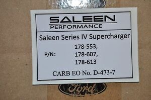 Saleen Super Charger Nos Silver Decals Oem New Free Ship