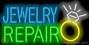 Jewelry Repair Neon Sign Supersized Gold Silver Diamonds Watches Jantec