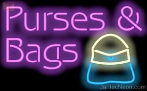 Purses Bags Neon Sign Retail Consignment Womens Accessories Fashion Jantec