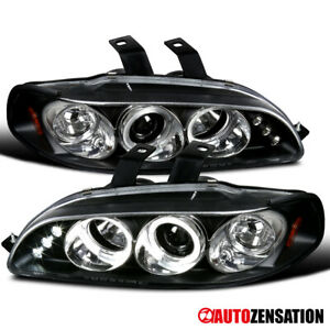 Fit 92 95 Honda Civic 2 3 4dr Black Led Drl Halo Projector Headlights