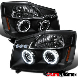 For 2004 2015 Nissan Titan 04 07 Armada Black Led Halo Projector Headlights Lamp
