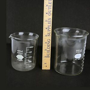 Vtg 1 Pyrex Beaker 1000ml And 1 Kimax Beaker 600ml Lab Glassware Made In Usa