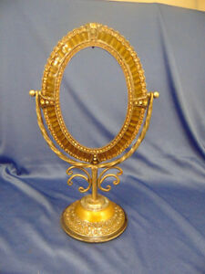 Antique Boudoir Oval Mirror Stand Frame Table Dresser Elegant Glass Beads Art