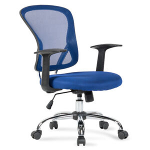 Ergonomic Mid back Mesh Office Computer Chair Desk Task Executive Swivel Blue