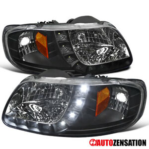 For 1997 2003 Ford F150 1997 2002 Expedition 1pc Black Headlights Led Drl