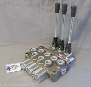 Hydraulic Directional Control Valve 3 Spool Tandem Motor Detent 12 Gpm