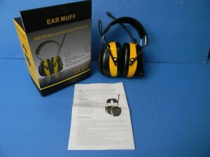 Ear Muff Am fm Stereo Hearing Protection Headphones Bright Yellow New