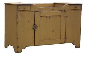Primitive Painted Country Farmhouse Dry Sink Early American Pine Cupboard Rustic