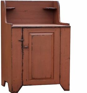 Primitive Farmhouse Washstand Vanity Pine Dry Sink Cabinet Cupboard Wash Stand