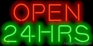 Open 24 Hours Neon Sign Restaurant Diner Coffee Bar Gas Station Jantec Usa