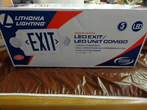 Sale Lithonia Lighting 2 light Plastic Led White Exit Sign emergency Combo