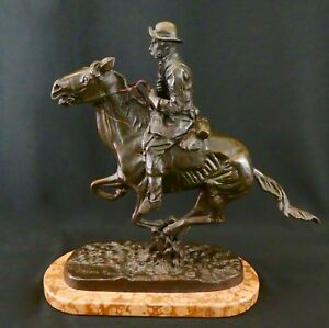 Frederic Remington Trooper Of The Plains Bronze Reproduction Circa 1990