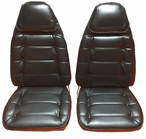 1974 Roadrunner Charger Seat Covers Front Bucket Upholstery Skins Black Button