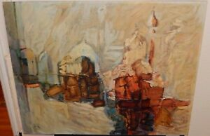 Mid Century Oil On Board Abstract Knife Texture Painting