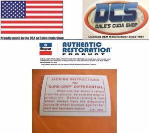 1962 67 Dodge Plymouth Chrysler Sure Grip Differential Mopar Decal 2750652 Usa