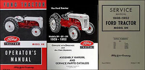 Ford 8n Tractor 3 Manual Set Owners Repair Assembly Books 1948 1949 1950 51 1952