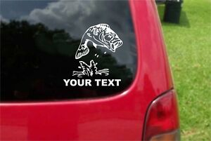 2 Pcs Fishing Bass Decals With Free Custom Text Optional