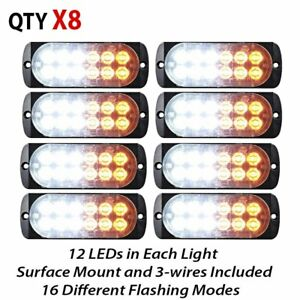 8x 36w White Amber 12 led Emergency Warning Strobe Light Bar 16 Flashing Pattern