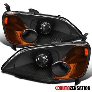 Fits 2001 2003 Honda Civic Jdm Black Retrofit Style Projector Headlights Pair