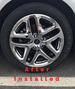 2013 2016 Ford Fusion Wheel Skins Hubcaps Covers Chrome W Black Inserts Set