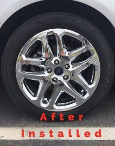 New 2013 2016 Ford Fusion 17 Chrome Wheel Skins Hubcaps Covers Alloy Wheels Set