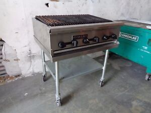 American Range 36 Counter Top Commercial Gas Radiant Char Broiler Grill W Cart