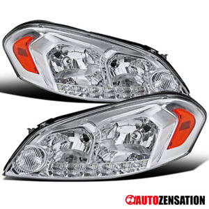 Chevy 06 13 Impala 06 07 Monte Carlo Chrome Led Headlights Lh rh Pair