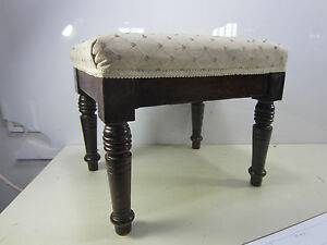 Vintage Small Upholstered Stool W Turned Legs