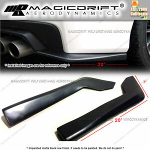 New Universal Fit 20 X 7 Black Rear Bumper Sides Extension Splitter Wing Lips