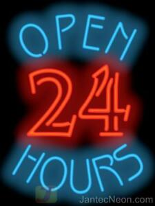 Open 24 Hours Neon Sign 20x32 Diner Coffee Gas Business Restaurant Jantec Usa