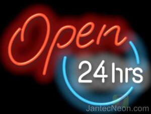 Open 24 Hours Genuine Neon Sign 3 Sizes Business Coffee Diner Gas Jantec Usa