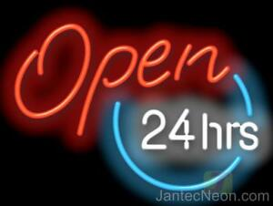 Open 24 Hours Genuine Neon Sign Business Coffee Gas Diner Store 32x20 Jantec Usa