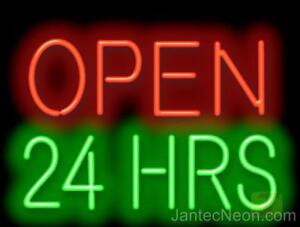 Neon Open 24 Hours Sign Diner Coffee Shop Gas Pharmacy Business 32x20 Jantec Usa