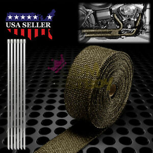 Titanium Exhaust Pipe Insulation Thermal Heat Wrap 2 X 50 Motorcycle Header